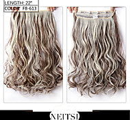 "Neitsi® 1pc 110g 22"" 3/4 Full Head 5clips Kanekalon Synthetic Braiding Hair Pieces Clip In/on Wavy Extensions F8-613#"