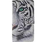 bianco modello tigre pu custodia in pelle per Huawei p8 lite