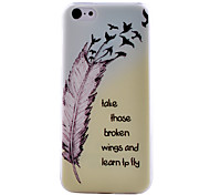 Feather Pattern Transparent TPU Material Soft Thin Cell Phone Case for iPhone 5C