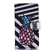Black and White Pineapple Pattern PU Leather Full Body Case with Stand for Motorola Moto G3
