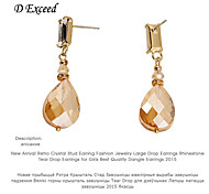D Exceed  Retro Crystal Stud Earring Fashion Jewelry Large Earrings Champagne Rhinestone Tear Drop Earrings for Girls