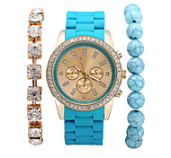 Fashion Women Dress Watches Analog Quartz DigitalLadies Rhinestone Wristwatches Relogio Feminino (including Bracelet)