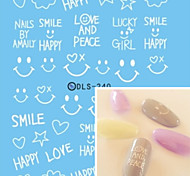Water Transfer Printing White Smiling Face Nail Stickers