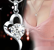 Sterling Silver Heart-shaped Pendant Necklaces