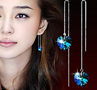 Heart Drop Earrings Jewelry Women Heart Daily Casual Sports Crystal Alloy 2pcs Blue