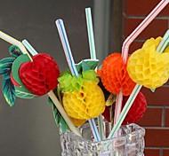 50pcs decorativo bebida cocktail palha partido favores partido descartáveis palhas (cor aleatória)