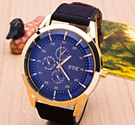 Men's  Watch New Men's Leather Watch Business In Three Eyes Of Blue Glass Black Quartz Watch