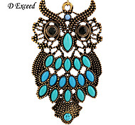 D Exceed  Lady Charm Earrings Antique Gold Plated Owl Earrings Blue Resin Gemstone Drop Earings Jewelry Free Shipping