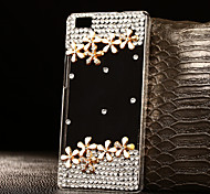 DIY Flowers with Rhinestone Pattern PC Hard Case for Multiple Huawei P8/P8 Lite