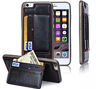 Luxury Shockproof TPU +Leather Credit Card Holder Stand Wallet Back Case Cover for Iphone 6 plus(Assorted Color)