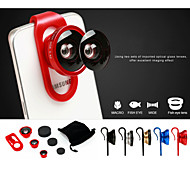 Universal Sliding Shaft Clip Set 4in1 Fish Eye Wide Angle Micro Telephoto Camera Lens for iPhone Samsung Sony NOKIA etc.