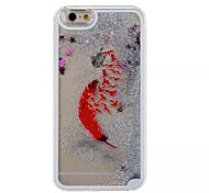 Silver Red Feather Pattern PC Material Stereoscopic Stars Quicksand Phone Case for iPhone 6 / 6S