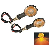 Motorcycle Hook Shaped Round Yellow LED Front Rear Turn Signal Lights-Orange