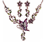 MPL Europe and the United States drops of oil Butterfly Necklace Earrings Set