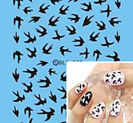 Water Transfer Printing Black Bird Nail Stickers