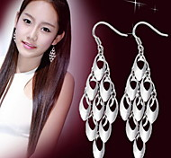 Woman Peacock Tail Tassel Long Earrings