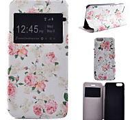 teste padrão de flor rosa pu material de tampa aberta a janela de couro para iphone 6s mais