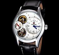 FORSINING Women's Silver Skeleton Auto Mechanical Leather Strap Watch