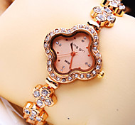 Women's Luxury Trend Flower Shape Diamond Dial Diamond Flower Shape Strap Fashion Quartz Bracelet Watch