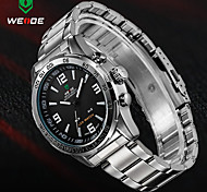 WEIDE Mens Watch Analog Digital LED Display Waterproof Stainless Steel Band Luxury Sport Wristwatch