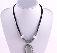 JewelryPendant Oval Black Leather Rope Short Choker Necklace