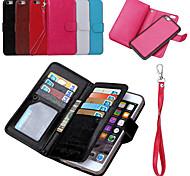 2 in 1 in pelle staccabile pu casi di telefono di vibrazione magnetica e copertura posteriore con il raccoglitore 9 slot per schede di 6s
