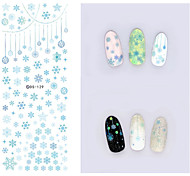 Big Page Water Transfer Printing Blue Snowflake Nail Stickers