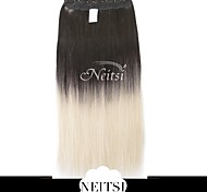 "Neitsi® 110g 22""Full Head 5clips Kanekalon Synthetic Hair Pieces Clip In/on Straight Extensions T-60#"