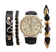 Fashion Women Bracelet Watches Set Rivets Gem Love Letters Female Watches Gift Idea 4Pcs/Set