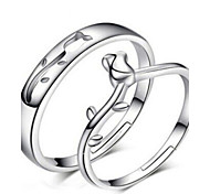 Sterling Silver Rose Couple Rings  2pcs