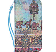 Elephant  Pattern PU Leather Phone Case For iPhone 5C