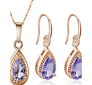 May Polly  Fashion Purple Crystal Gemstone Necklace Earrings Set