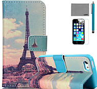 LEXY® Huang Tower Pattern PU Full Body Leather Case with Screen Protector and Stylus for iPhone 5C