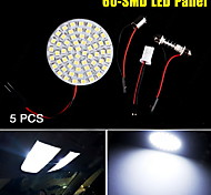 5X White Interior Door Dome Map 60-SMD LED Light Panel T10 194 921 BA9S Festoon