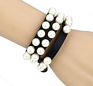 Vilam® Punk Gothic Girl Pearl Black Leather Winding Belt Bracelet Necklace Two Way Use