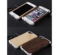 moldura de alumínio e bambu de volta caso para iphone 6s plus / 6 mais