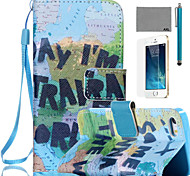 LEXY® Map Pattern PU Full Body Leather Case with Screen Protector and Stylus for iPhone 5/5S