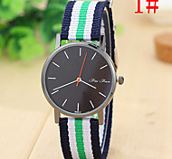 Woman's Watch The Latest Fashion Personality Canvas Striped Nylon Strap Watch