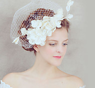 Lady's Linen Feather Hat Headband for Wedding Party