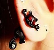 Women's fashion set auger black manul stud earrings