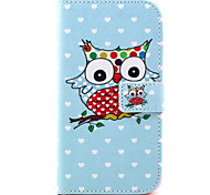 Owl Pattern PU Leather Case with Money Holder Card Slot for Wiko Lenny