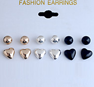 European Style Fashion Glaze Ballpoint Heart Shape Alloy Stud Earrings