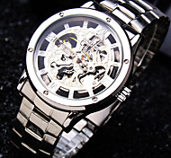 Men's Business Round Rome Dial Mineral Glass Mirror Stainless Steel Band Fashion Mechanical Waterproof Watch
