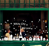Merry Christmas White Snow City PVC Wall Sticker Wall Decals