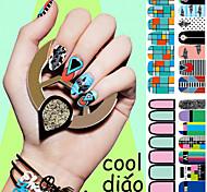 1 PCS  Tide Brand Stickers Big Eyes Full Green Nail Polish Nail Sticker Decals
