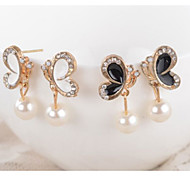 Women's Fashion With Drill Bowknot Pearl Earrings