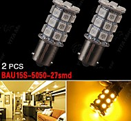 2x Amber BAU15S 7507 PY21W 27-SMD 5050 Brake/Backup/Tail/Turn Signal LED Lights