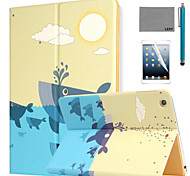 LEXY® Whale Pattern PU Leather Flip Stand Case with Screen Protector and Stylus for iPad Air 2/iPad 6