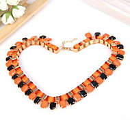 Fashion Women Orange Black Braided Mosaic Dress Necklace