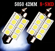 2 X PURE White 42MM 5050 Festoon Dome Map Interior LED Light bulbs 578 2112 6411